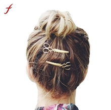 2PC Hair Clip Hot Sale Girl Lady Hair Barrettes Apparel Accessories Headpiece Fashion Women Hairpin Scissors Pattern Gold Silver(China)