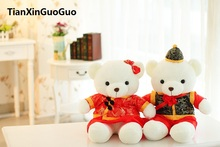 stuffed plush toy 40cm wedding teddy bears plush toy chinese tang suits couples bears soft doll proposal , wedding gift w2979(China)