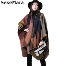 2016 New Winter Oversized Thick Warm Plaid Scarves Knit Shawl Fashion Vintage Pashmina Cashmere Scarf Women Poncho Cape MY22(China)