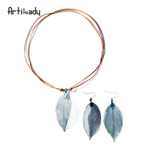 Artilady real leaf pendant necklace earring set genuine leather copper necklaces women boho jewelry set gift(China)