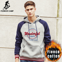 Pioneer Camp brand hoodies men top quality 100% cotton thick warm hoodie male fashion fleece hoodie hoodies sweatshirt 622122