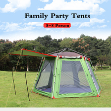 5-8 Person Family Party Tents Single Layer Ultralarge Automatic Beach Camping Hiking Tents Hexagonal Family Party Camping Tents