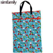 [simfamily]1PC Reusable Waterproof Large Hanging Cloth Diaper Wet Dry Bag Double Pocket Cloth Handle Pail Bag for Cloth Diapers