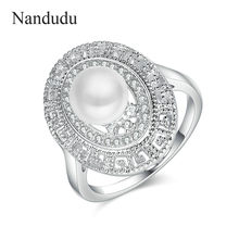 Nandudu Factory Direct Sale Simulate Pearl High Quality Crystal Pearl Oval Rings Christmas New Year Jewelry Gift for Women R1900(China)