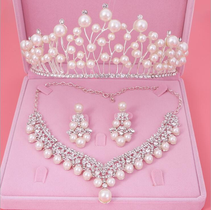 Womens Crystal Pearl Jewelry Hair Crown Headpiece Necklace Pendant Earrings Sets (8)