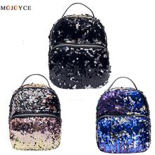 2017 New Women All-match Bag PU Leather Sequins Backpack Girls Small Travel Princess Bling Backpacks