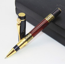JINHAO Luxury fashion beautiful Golden carving Mahogany paint Medium Nib Roller Ball Pen New(China)