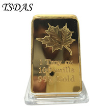 Rectangle Canadian Maple Leaf Gold Bar 24k With Plastic Box, 1 Troy OZ Pure 999 Replica Fake Bar Gold Plated Gifts