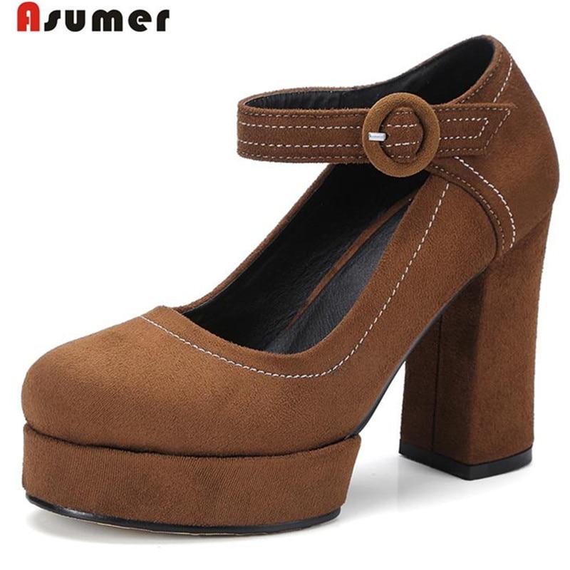 ASUMER Hot sale women shoes platform buckle high heels shoes single big size 32-42 flock pumps party shoes fashion restoring<br>