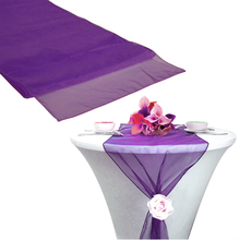 "Organza Table Runner Purple color 12""x108"" Sheer Wedding Party Decoration Supply Free Shipping(China)"