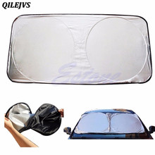 QILEJVS Car Styling Folding Jumbo Front Rear Car Window Sun Shade Auto Visor Windshield Block Cover Car Windshield Sunshade(China)