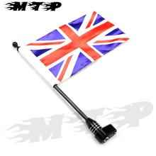 Motorcycle Vertical Flagpole British Flag Pole Luggage Rack for Harley Sportster 883 1200 Touring Dyna Fatboy Glide