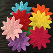 NEW 50PCS Mix 40mm Padded Felt Spring Flower Appliques Crafts Wedding Making DIY A73A