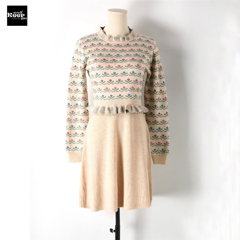 2018 New Fall Winter Slim Basic Knitted Sweater Dresses Women Pleated Ruffles Knit Floral Casual Dress Autumn Knitwear VestidosÎäåæäà è àêñåññóàðû<br><br>