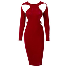 New Fashion Women Sexy Dresses Bodycon Hollow Out Sexy Clothes Club Wear Low Cut Style Party Long Sleeve Slim Pencil Dress