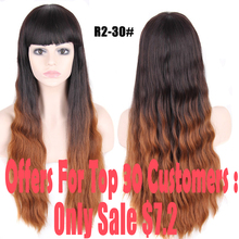 Promotions Ombre Wig Synthetic Wigs For Black Women Long Wave Hair With Bangs Women's Wigs From Natural Hair Hot Sale