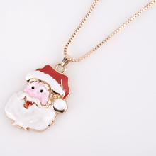 RONGQING 10Pcs/lot Fashion Cute  Oil Drop Chimney Santa Claus Choker Necklace for Girls Women Christmas Gifts