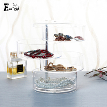 4 layers of rotation jewelry box Acrylic Cosmetic organize  daily household rotated dust-proof storage box with lid