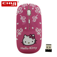 2.4Ghz Ultra Thin Slim Wireless Optical Mouse Sem Fio Mouse Mini Pink Hello Kitty Gaming Mouse For Women Computer Mice Gamer(China)