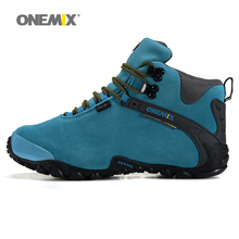 Onemix women's trekking shoes anti slip climbing shoes and wool lining female mountain shoes comfortable warm outdoor sneakers(China)