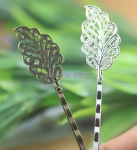 17x34mm Blank Bobby Pins Bases Settings Filigree Hollow Leaf Hairwear Hairpins Hair Clips Crafts Findings Silver/ bronze tone