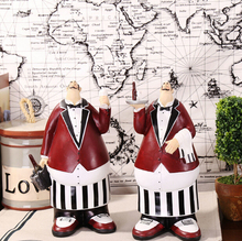 Newest American Country Resin Crafts Waiter Chef 1 Pair A Set Resin Dolls Kitchen Restaurant Resin Ornaments Christmas Gift(China)