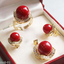 Free deliver Nobility Lucky Women Set 10mm &14mm Red South Sea Shell Pearl Earrings Necklace Ring 6 7 8 9 hook