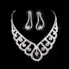 2016 New Fashion Silver Crystal Jewelry Sets Wedding Bridal Prom Rhinestone Necklace Earrings Jewelry