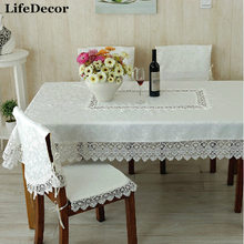 Fashion quality embroidery laciness dining table cloth chair covers cushion set tablecloth sofa fabric lace gremial t80998-1(China)