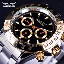 Jaragar Golden Bezel 3 Dial Display 2017 Luxury Series Mens Watches Top Brand Luxury Automatic Fashion Military Mechanical Watch