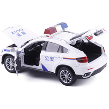 1:24 Scale Alloy Diecast Metal Police Car Model For  BMW X6 Collection Model Pull Back Toys Car With Sound&Light - White
