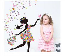 Personality Fairies Girl Butterfly Flowers Art Decal Wall Stickers For Home Decor DIY Mural Kids Rooms Wall Decoration(China)