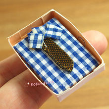 Dollhouse Miniature 1:12 Toy Bedroom Blue Shirt In Box Length 4cm SPO222