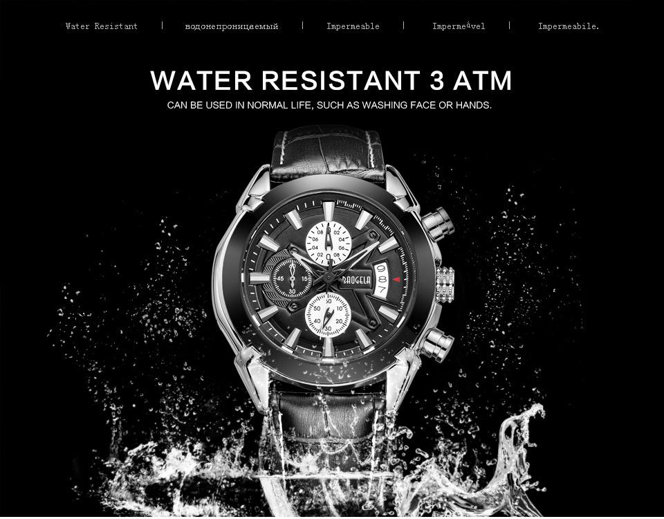 Baogela Mens Chronograph Luminous Hands Date Indicator Fashion Causal Leather Strap Sport Quartz Wrist Watches 5
