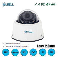 zk19 Sunell ONVIF 2 MP POE 2.8mm IP CAMERA 1080P IR HD With mobile phone CCTV network ip vandalproof dome camera hd IP SD Card