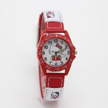 Hello Kitty Watches Gril Lovely Cartoon Watch Kids Watches Children Cute Leather Quartz Watch Baby Gift Hour montre enfant(China)