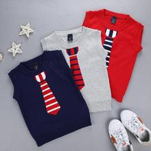 2018 Autumn Spring New Fake tie Kids Boy Sweater Vest Children Clothing Coat Baby Cotton thick wool top Boys Pullover Vest 2--7Y(China)