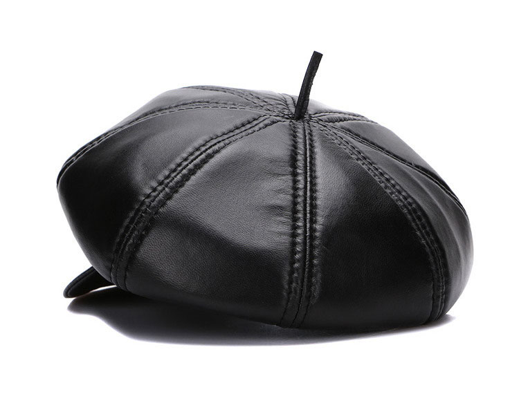 New Winter 100% Leather Beret, Hats for Women, Genuine Leather Berets, Octagonal Hats 19