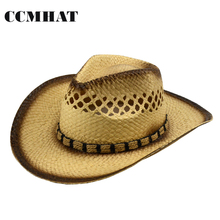 Adult Cowboy Hats 2017 Fashion Hollow Women's Cowboy Hats Summer Hemp Rope Belt Casual Men's Straw Hats Caps Apparel Accessories