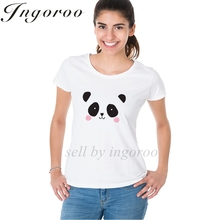 Ingoroo Cute Panda Bear Black And White Summer Casual Korean Shirt Rainbow Tees Kpop Sexy Tshirt 3d Printer Kawaii T Shirt Queen