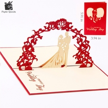 Sweety wedding invitation 3D laser cut paper cutting Greeting Pop Up Kirigami Card Custom postcards Wishes Gifts for lover 1009(China)