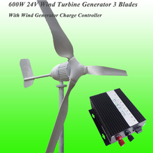 2017 New Arrival 3 Blades Rated 600W 24V Wind Generator & Rated 600W 24V Wind Charge Controller Wind Power Generator Kit(China)