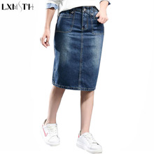 LXMSTH Ladies jeans Skirt 2018 Package Hip High Waist Casual Long Women Denim Skirts With Pockets Large Size Pencil Denim Skirt(China)