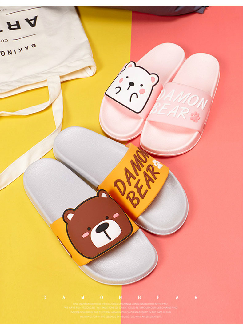 Cartoon Women Summer Slippers Cute Damon Bear Soft Sole Slides Home Slippers Indoor & Outdoor Sandals Women Shoes Flip Flops 9