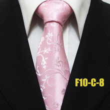 Lingyao 10cm Men Designer's Tie Top Fashion Woven Necktie Pink with Elegant Flower Floral Ties