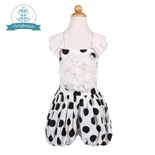Baby to Big girls Romper 2016 summer cotton Children sets Polka Dot Playsuit mesh ruffle-neck one piece Toddler girl jumpsuit(China)