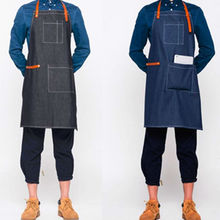 Blue Black Denim Bib Apron w/ Leather Strap Barista Bartender Uniform Barber Florist Tattoo Artist Craft Workshop Work Wear K8(China)