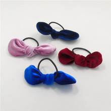 20pcs/lot Bow Tie Elastic Hair Band Pink Dark Blue Red Cute Ponytail Holder Hairband Kid Small Hair Bow Knot Girls Hair Ring