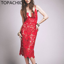 Topachic High Quality Ladies Hollow Out Fit & Flare Lace Cami Dress Plain Spaghetti Strap Sleeveless V Neck Pencil Dress