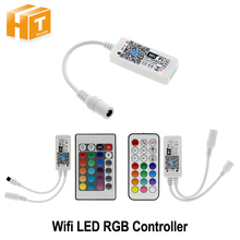 Wifi RGB LED Controller Mini DC12V With RF 21Key / IR 24Key Remote Control For RGB LED Strip Lights(China)